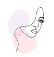 woman face portrait in continuous one line drawing vector image