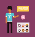 young african american man and donuts delicious vector image