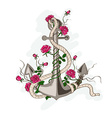 Anchor entwined with rose flowers vector image
