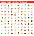 100 spring holidays cons set isometric 3d style vector image vector image