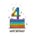 4th anniversary celebration greeting card vector image vector image