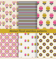 abstract floral seamless pattern set vector image