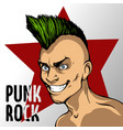 album s cover of mad man with a green mohawk punk vector image vector image