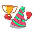 boxing winner party hat mascot cartoon vector image vector image