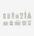 buildings icon set symbol architecture city vector image