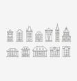 buildings icon set symbol architecture city vector image vector image