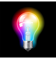 Bulb with colorful light background vector image vector image