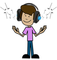 Cartoon man in headphones vector image