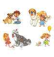 child walking with dog vector image