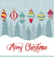 christmas card with balls and wishes vector image vector image