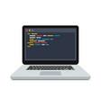 code on screen laptop vector image