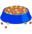 colorful cartoon pet full food bowl vector image vector image