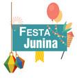 festa junina lamp balloon flag white background ve vector image vector image