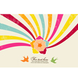 flower with rainbow vector image vector image