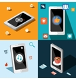 Four smart phones in panels vector image