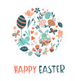 funny happy easter eggs hunt greeting card vector image