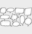 hand drawn set speech bubbles doodle set vector image
