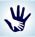 hand in hand in white and blue symbol of help vector image
