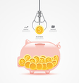 Infographic business claw game with coin piggy ban vector image vector image