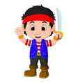 kid boy pirate cartoon vector image
