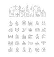 linear dubai with icons vector image