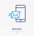 message or mail flying on smartphone vector image vector image