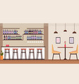 modern cocktail bar with alcohol bottles empty no vector image vector image