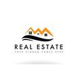 orange black real estate house logo icon company vector image vector image