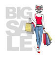 retro hipster animal girl fox big sale hipster vector image vector image