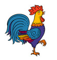 rooster colorful cock portrait cartoon vector image