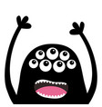 screaming monster head silhouette many eyes teeth vector image vector image