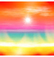 sea summer sunset with the sun and light on lens vector image vector image
