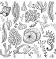 seamless pattern with marine hand drawn corals vector image vector image