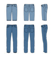 set of male jeans and shorts vector image vector image