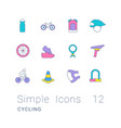set simple line icons cycling vector image vector image