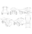 set with the contours of the truck from black vector image vector image