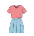 skirt with t-shirt color vector image vector image