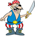 smiling pirate holding a cutlass vector image vector image