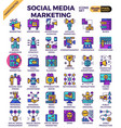 social media marketing icons vector image vector image