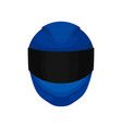 solid bright-blue motorcycle helmet with black vector image vector image