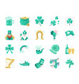st patrick day color icon set vector image