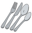 stainless steel cutlery vector image