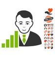 stock trader icon with valentine bonus vector image