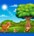 the animals are enjoying nature by the cage vector image vector image