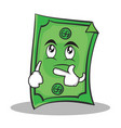 thinking face dollar character cartoon style vector image vector image