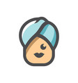 towel girl beauty icon cartoon vector image
