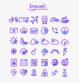 travel tourism and weather linear icons set 1 vector image