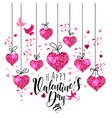 valentine s day greeting card set with hearts vector image vector image