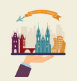 welcome to prague attractions of prague on a tray vector image vector image