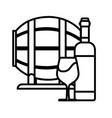 wine barrel with bottle and cup wine line style vector image